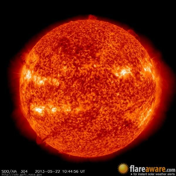 The hourly sun (at 10:44 am  UTC on 22 May 2013)
