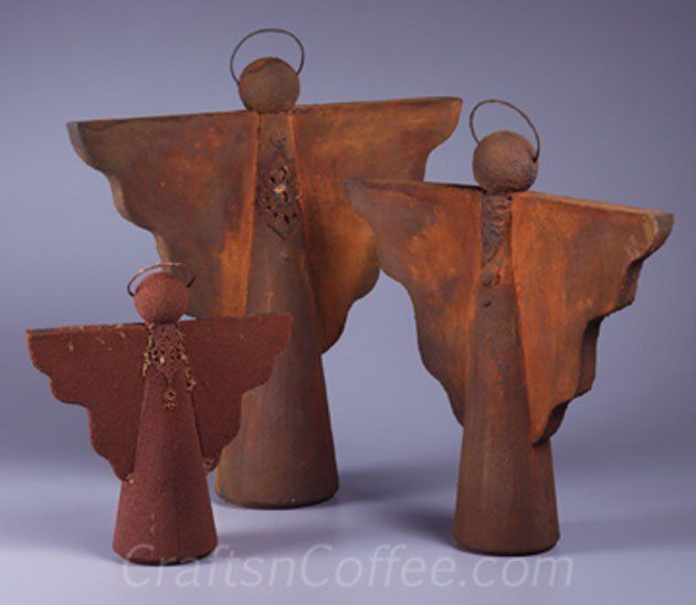Beautiful, Faux Rust Angel Craft for Christmas.