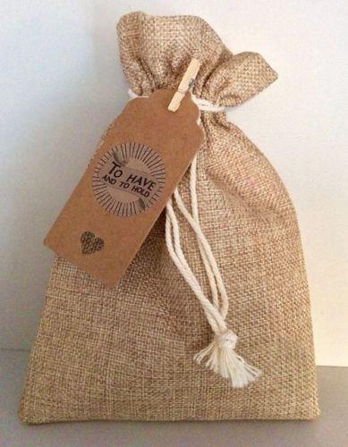 Hessian Gift Favour Party Drawstring Bag Tag Sticker Vintage Wedding Birthday