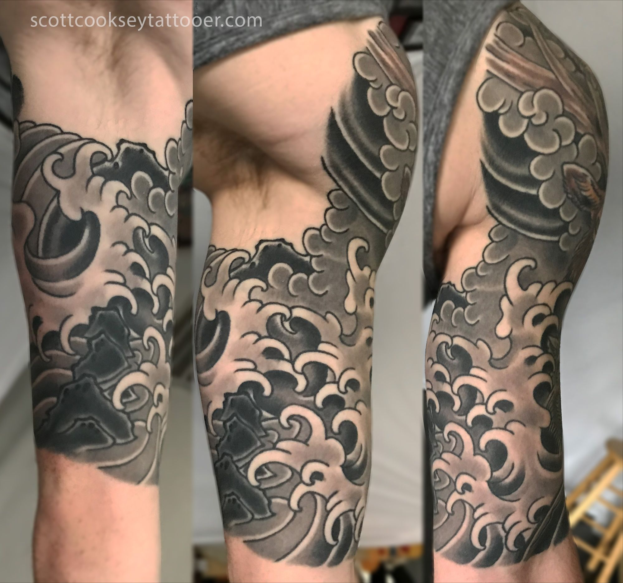 Traditional Japanese Wind Waves Half Sleeve By Scott A Cooksey Of Lone Star Tattoo Dallas And Godspeed Tattoo Breck Wind Tattoo Wave Tattoo Sleeve Star Tattoos