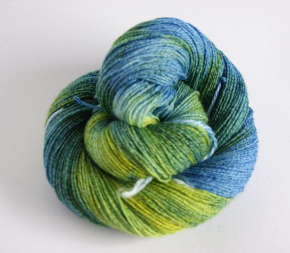 Handpainted Sock Yarn Fingering with Cotton  blue green by camgarn