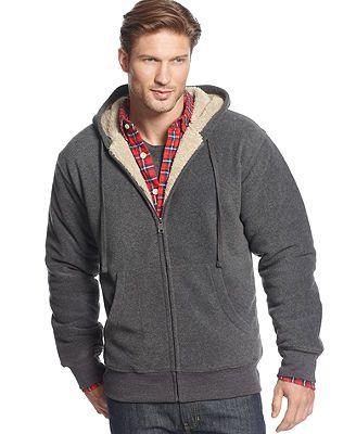 Springrain Mens Athletic Sherpa Lined Fleece Coat Zip Up Hooded Sweatshirt Jacket