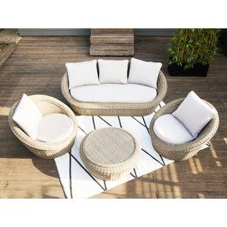 Salon de jardin bas 5 places : canapé 3 places + 2 fauteuils ...