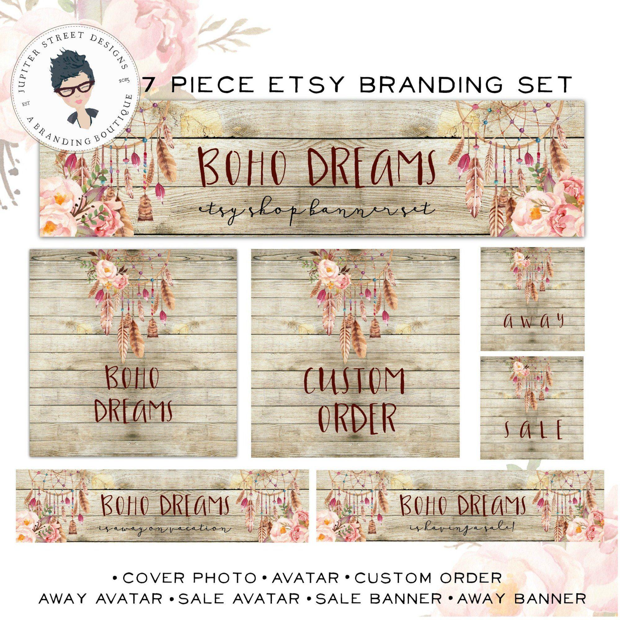 7aed7753c86ee Shop Banner Set-Etsy Shop Set-Watercolor Etsy Set-Flower Etsy Set ...