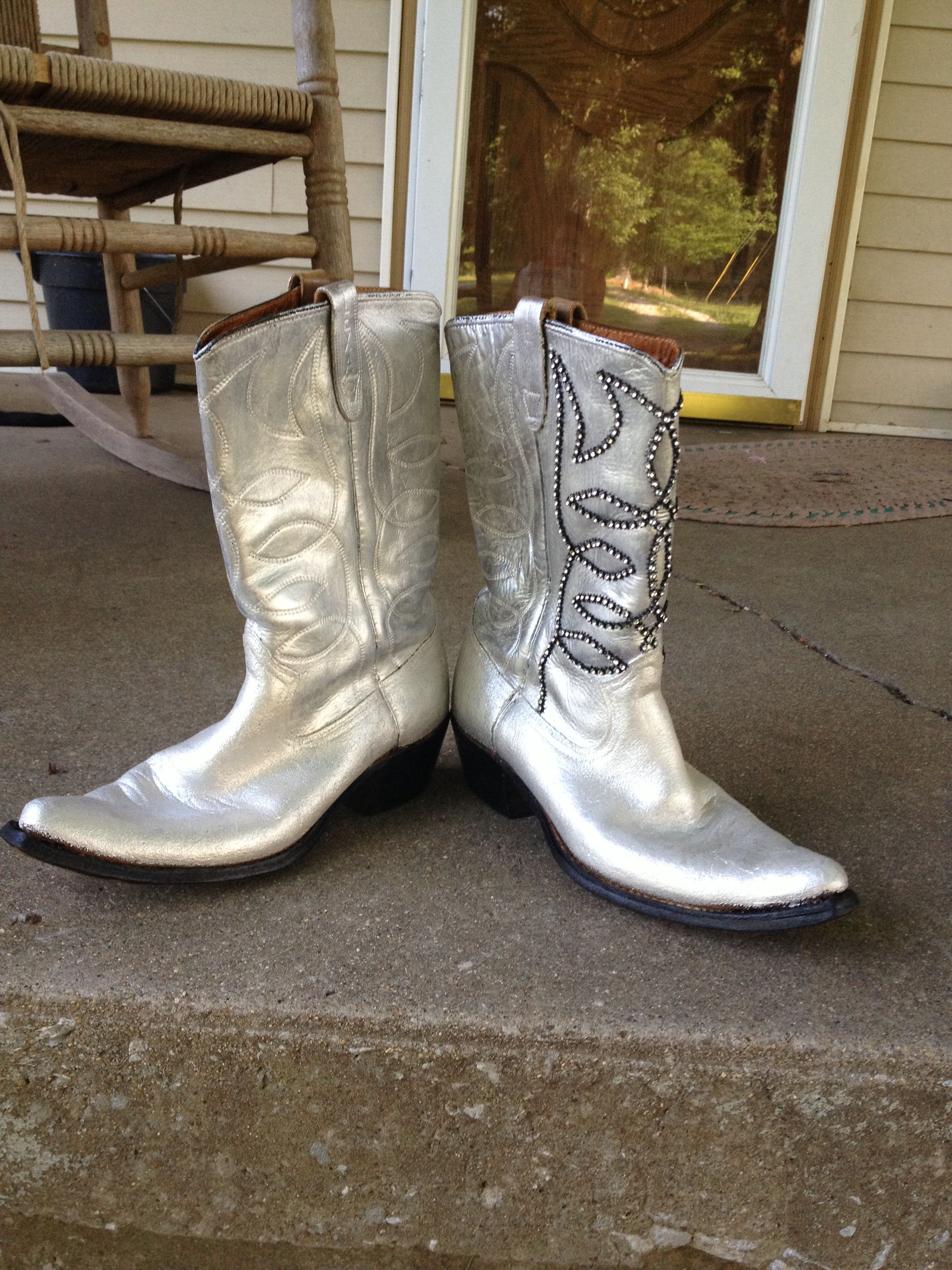 Painted & bedazzled boots