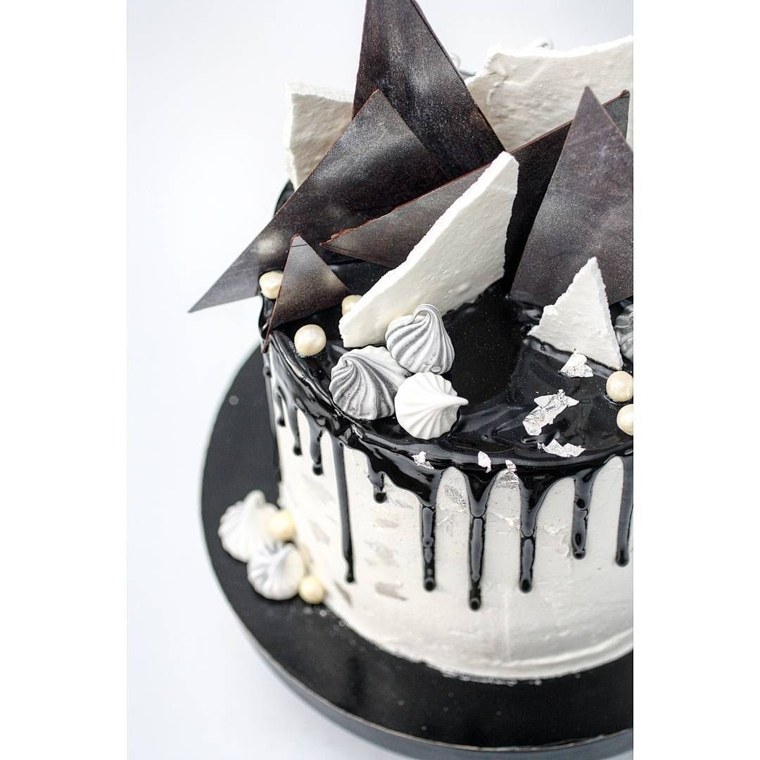 Cool Black White And Silver Dripping Chocolate Cake Eyal Revah Funny Birthday Cards Online Alyptdamsfinfo