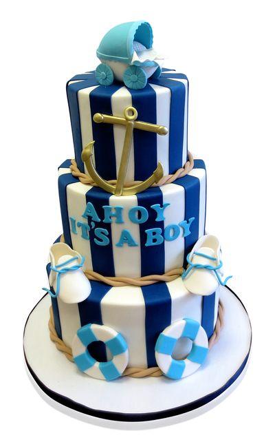 Nautical Theme Baby Shower Cakes   Nautical Theme Baby Shower Cake   CMNY  Cakes