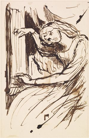 Ligeia Siren [The Sea-Spell] - Sketch of a Girl playing a Musical Instrument. By Dante Gabriel Rossetti