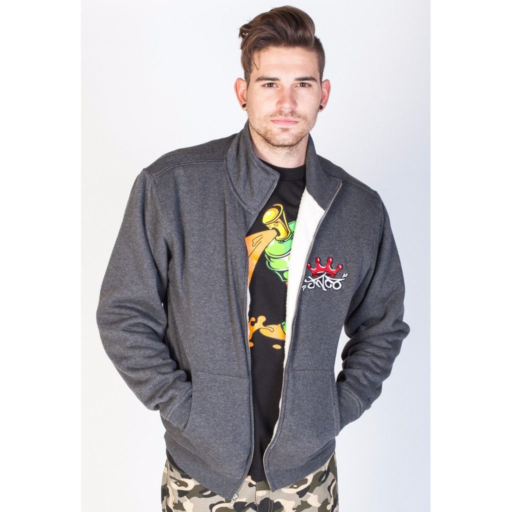 Jnco crown zip up fleece jacketcharcoal charcoal and rounding