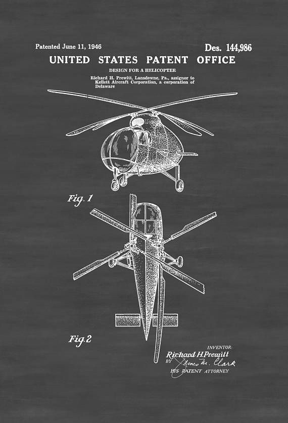1946 Helicopter Design Patent - Vintage Helicopter Helicopter Blueprint Aviation Art Pilot Gift Aircraft Decor Helicopter Poster by PatentsAsPrints
