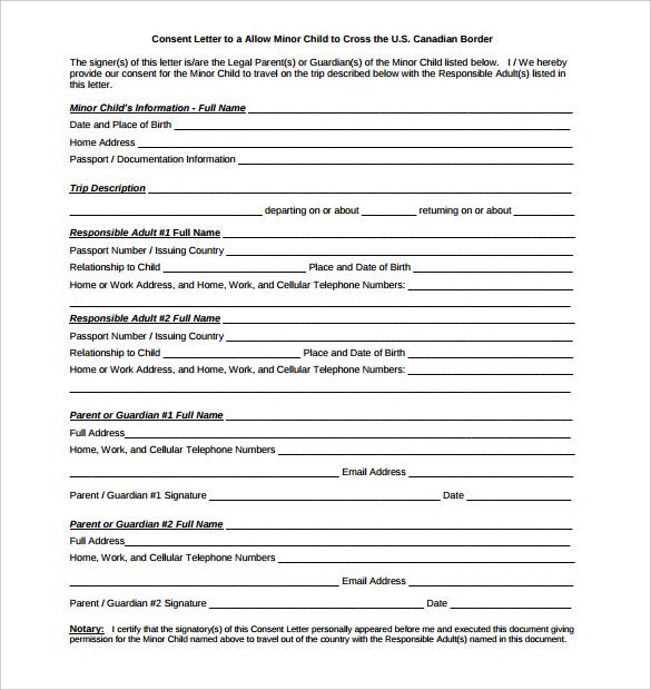 notarized letter templates free sample example format download - permission to travel letter template