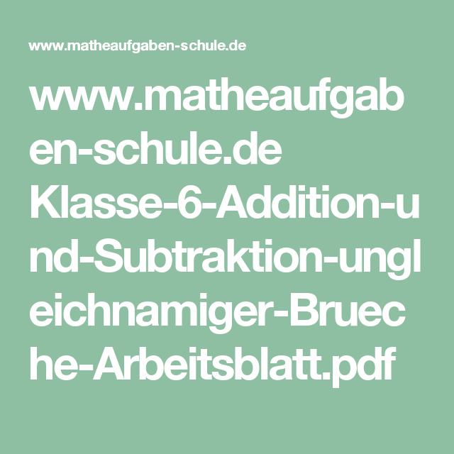 www.matheaufgaben-schule.de Klasse-6-Addition-und-Subtraktion ...