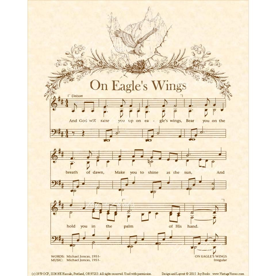 A personal favorite from my etsy shop httpsetsylisting on eagles wings hymn wall art custom christian home decor vintageverses sheet music inspirational wall art sepia brown by michael joncas hexwebz Images