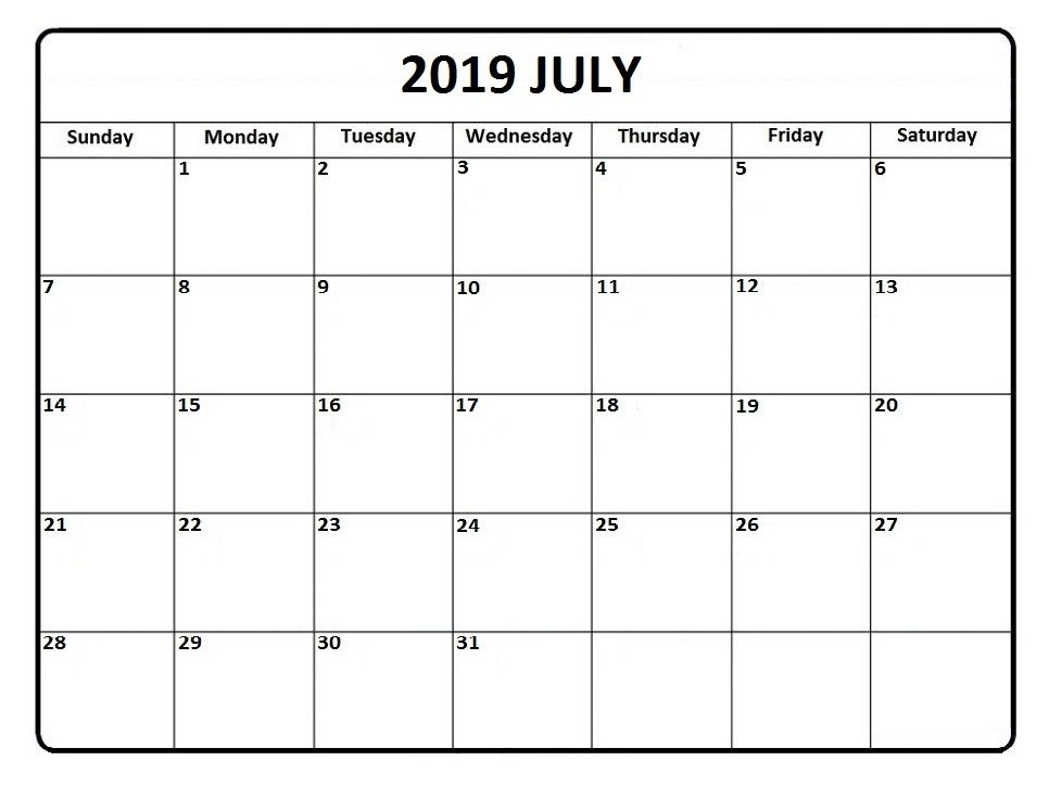 graphic relating to Printable July Calendar referred to as July Calendar 2019 #july #julycalendar #july2019 July 2019
