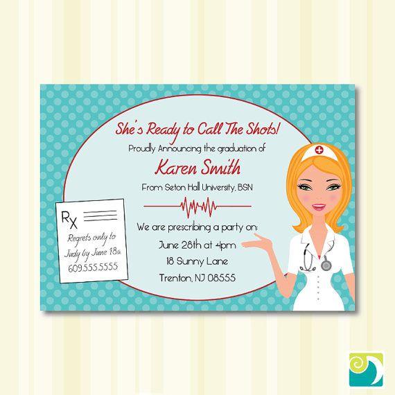 Nursing School Graduation Party Invitation  by DaraMayDesign