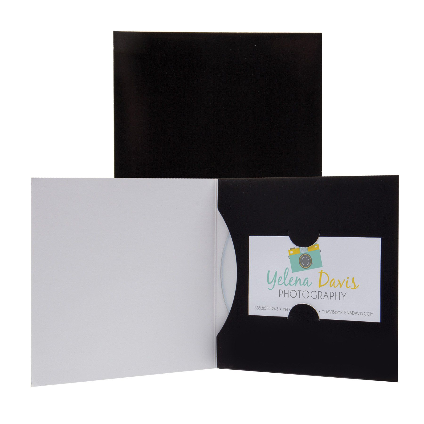 Paper CD or DVD and Business Card Holder Sleeve - 100 Pack (Black ...