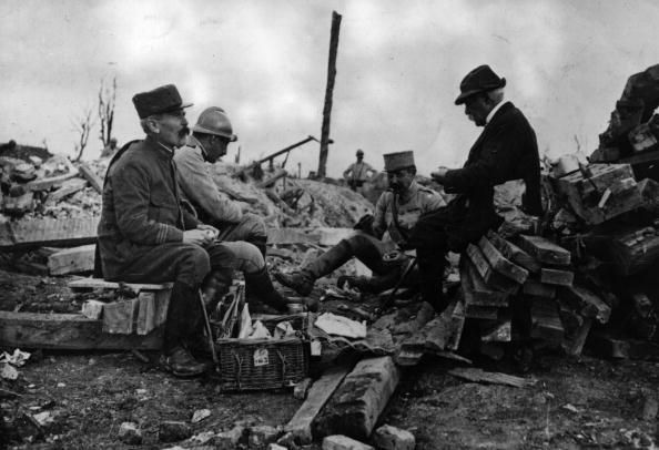 WW1. French statesman Georges Eugene Benjamin Clemenceau resting in a ruined village during a visit to the Somme front. Original Publication People Disc- HCD0400