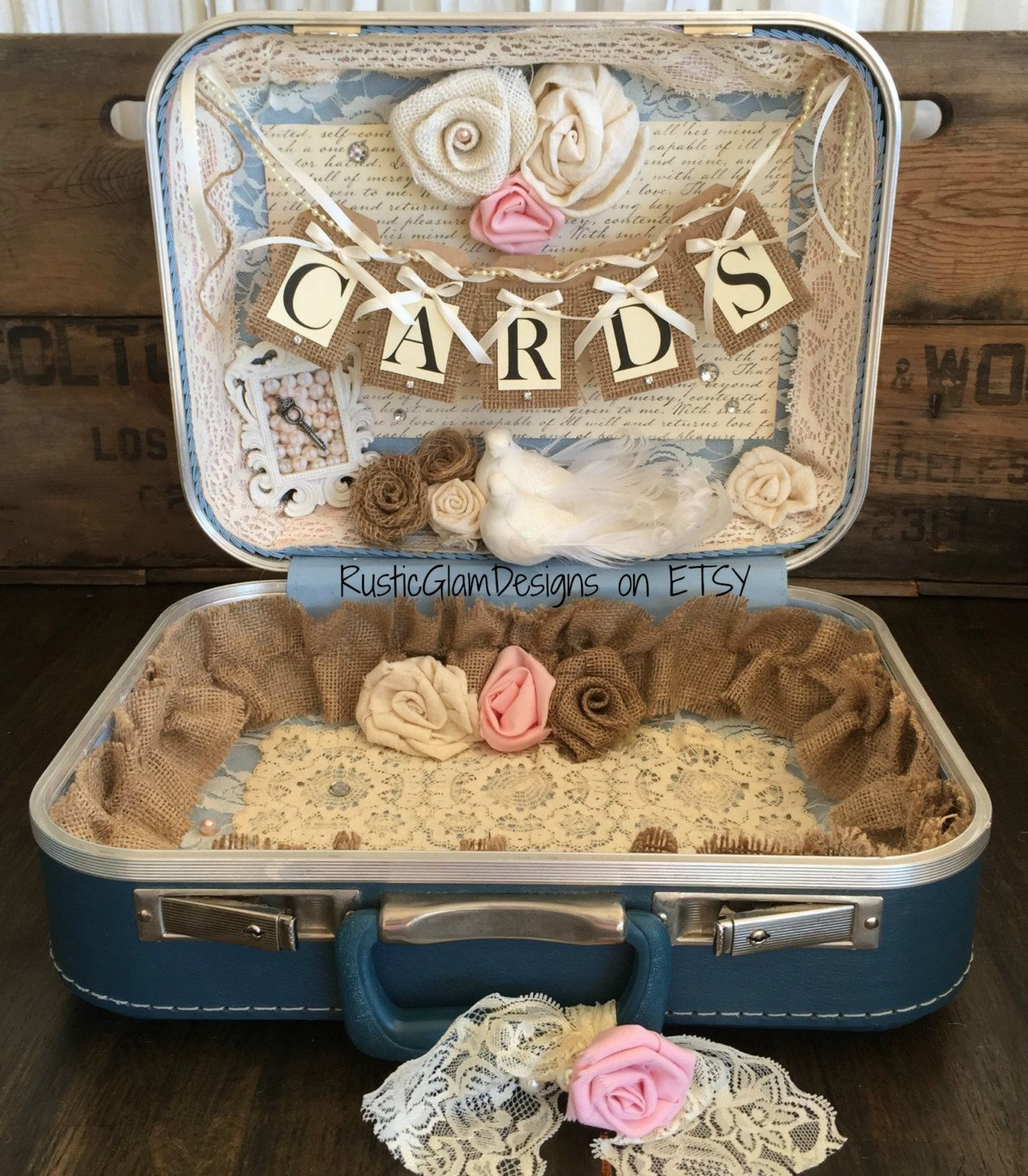 Vintage Suitcase Wedding Card Box Wedding Card Holder Shabby Chic ...
