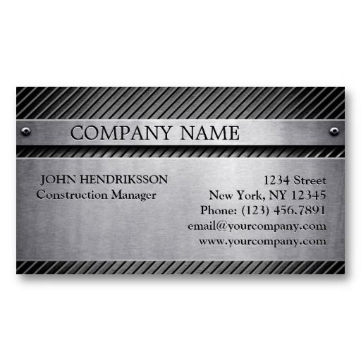 Construction Brushed Metal Frame With Etched Text Business Card ...