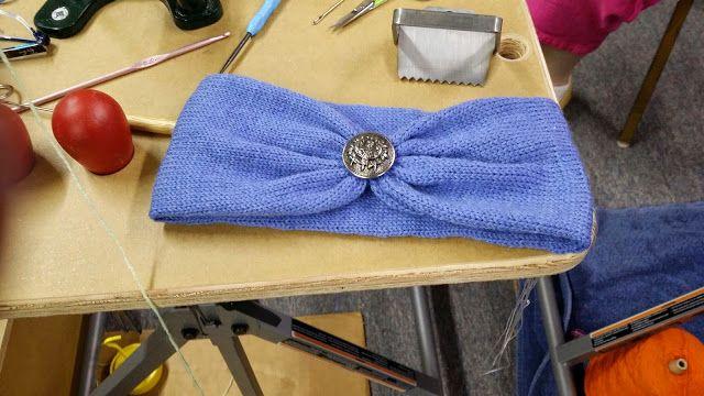 Newly finihed headband made on circular sock machine (Cell photo by Trisha)
