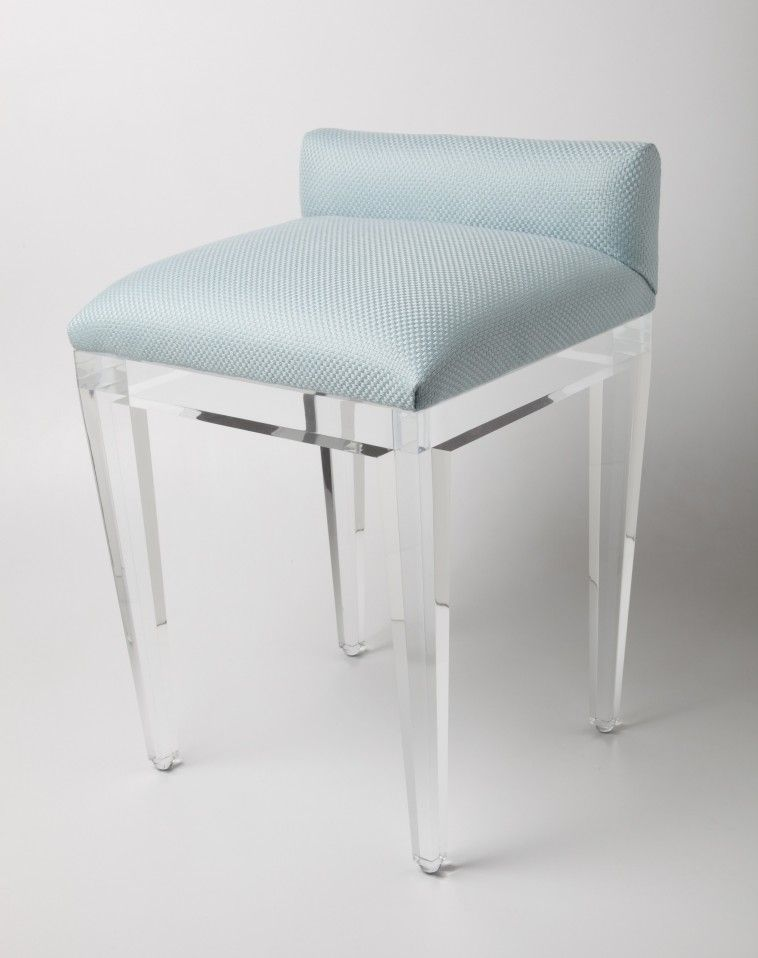 Vanity Stool With Low Back In Acrylic Frame And Legs Also Blue Square Seat  Padded More