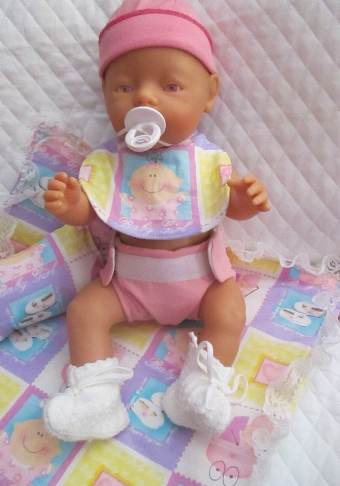 Baby Born Doll W Many Accessories Diapers Waterproof Handmade Bedding Potty Quilted Diaper Bags Interactive Baby Dolls Doll Gift