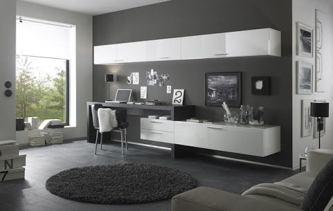wall unit desk combo modern  Google Search  H O M E O F F I C E  Desk in living room TV