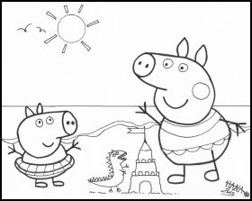 peppa pig at the beach Colouring