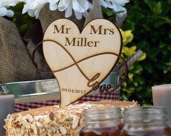 Personalized Cake Topper With Heart And Infinity Symbol