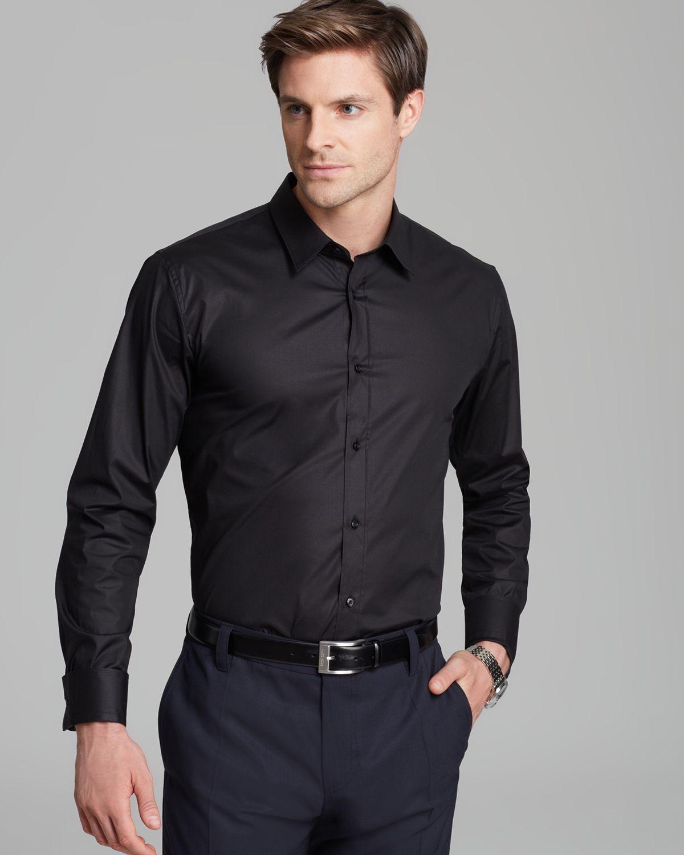 Men's Black Elisha Button Down Shirt - Slim Fit | Black suit men ...