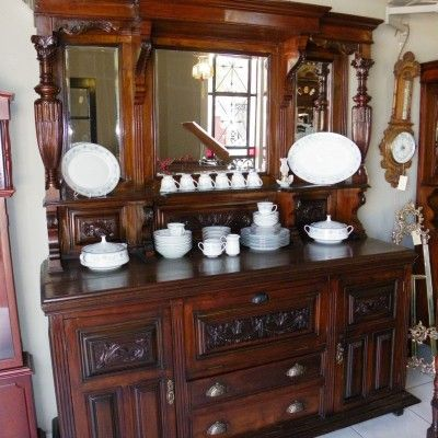 R19,500.00 · Carved Victorian Walnut Mirror Back Sideboard