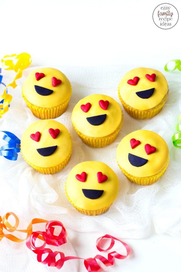 Emoji Cupcakes Cutest Heart Emoji Cupcakes Easy Family Recipe Ideas In 2020 Emoji Cupcakes Emoji Cake Easy Cupcake Recipes