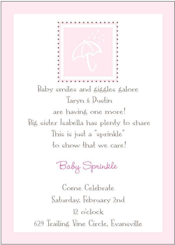 Sprinkle Shower In Vitiation With Umbrella In PINK For A Mommy Having A Baby  Girl.