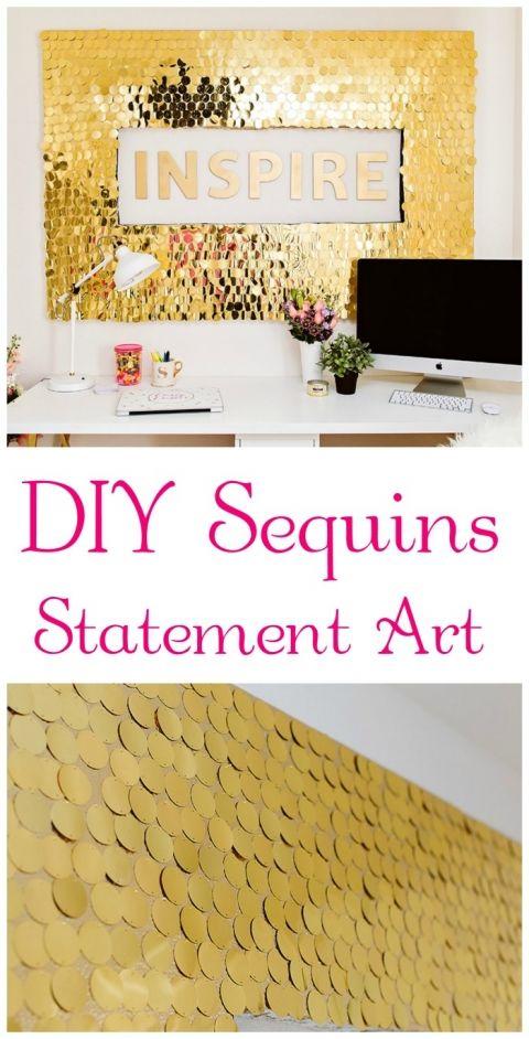 DIY Sequins Wall Art | Sequins, Crafts and Walls