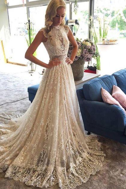 2019 High Neck Lace Brautkleider Eine Linie Mit Applique Gericht Zug US $ 289.00 BFPPBCTZ79 – Hochzeit und Braut