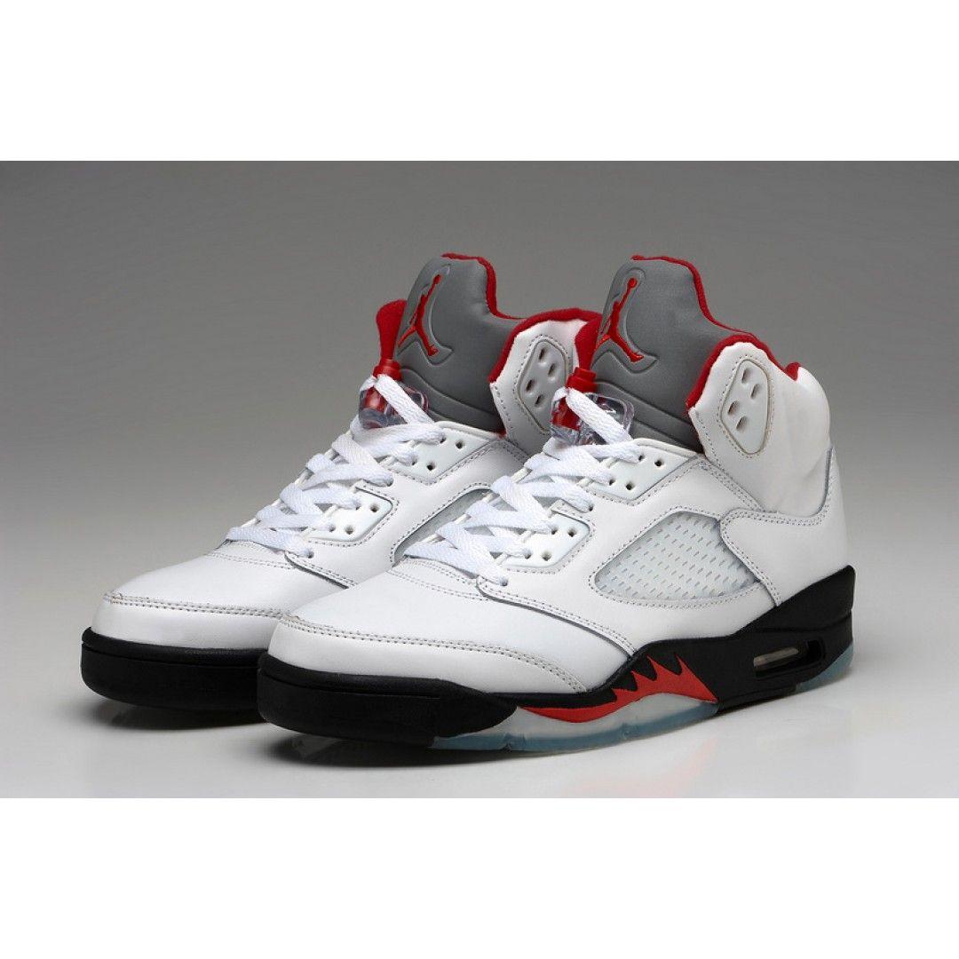 dde96c95bc6 Air Jordan 5 White Black Fire Red Shoes | Vans & Jordan shoes | Nike ...