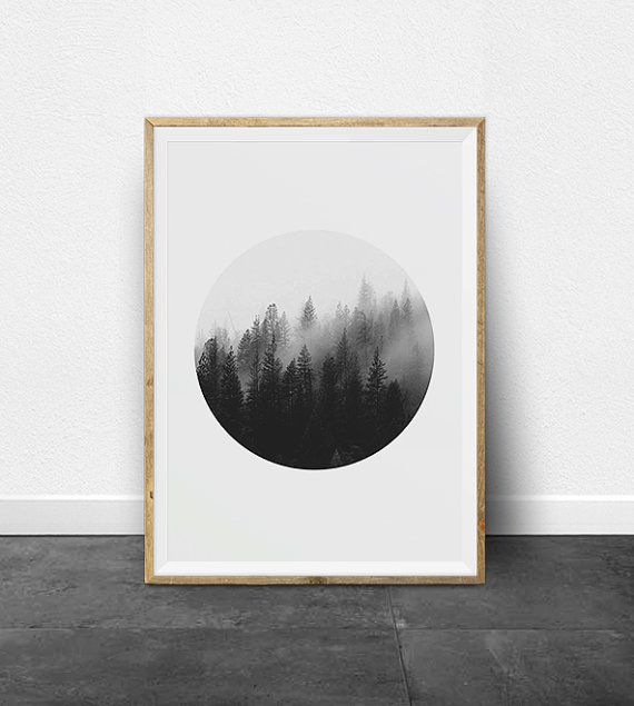 Black And White Prints Photography Printable Art Set Ombre Effect Circle Print Minimalist Forest Trees