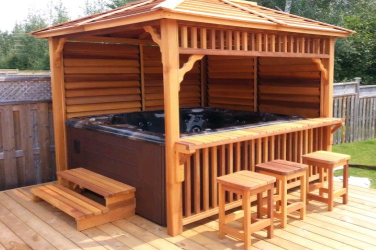Hot tub deck and bar google search diy bar patio diy for Diy hot tub gazebo