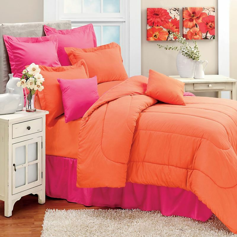 New Coral Orange Twin Single Bed Comforter Bright