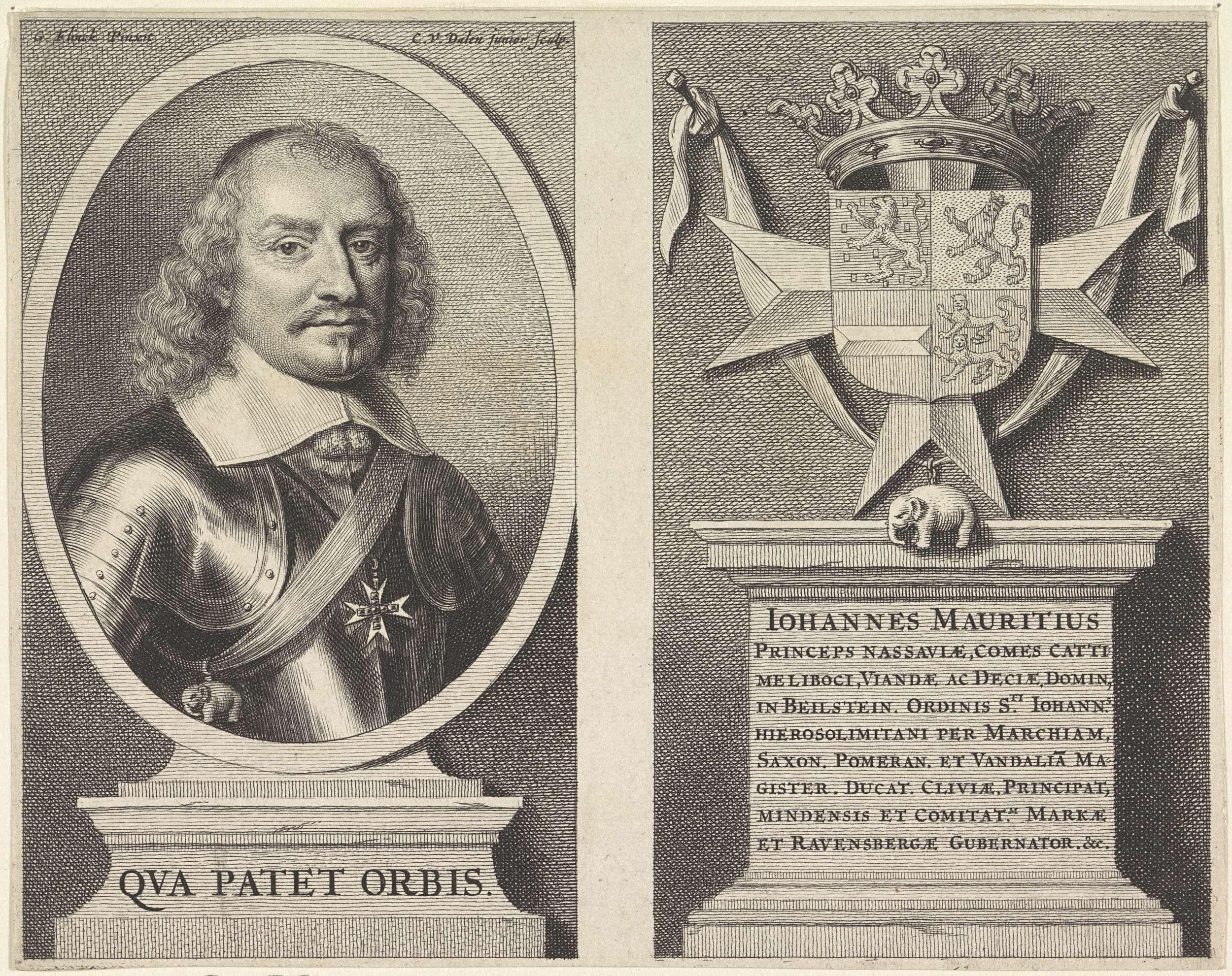 Cornelis van Dalen (II) | Portret van Johan Maurits, graaf van Nassau-Siegen, Cornelis van Dalen (II), 1655 - 1659 | Portret van Johan Maurits in een ovaal links. Op een voetstuk een regel Latijnse tekst. Zijn wapen met een kroon rechts. Op een voetstuk negen regels Latijnse tekst.