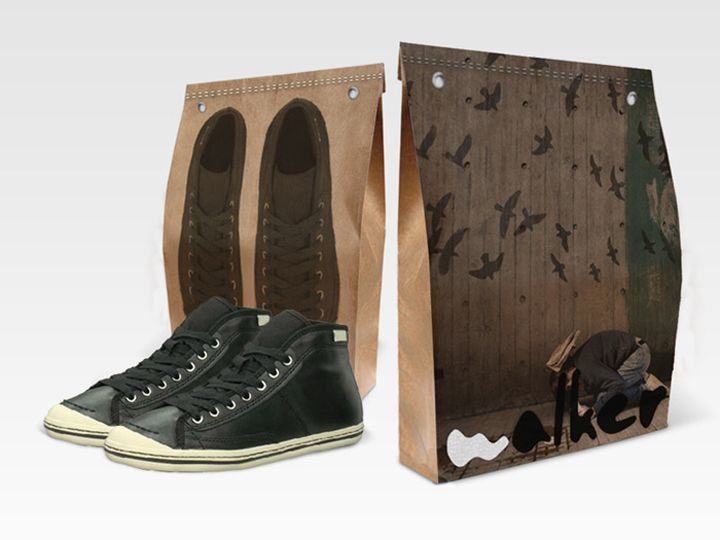 The packaging design was created trying to make a compact way to carry the shoes avoiding the typical big boxes wasting sometimes lots of material. On the principal face you can see an image representing an emotion, and on the back you will see an image of the shoes that are contained inside.
