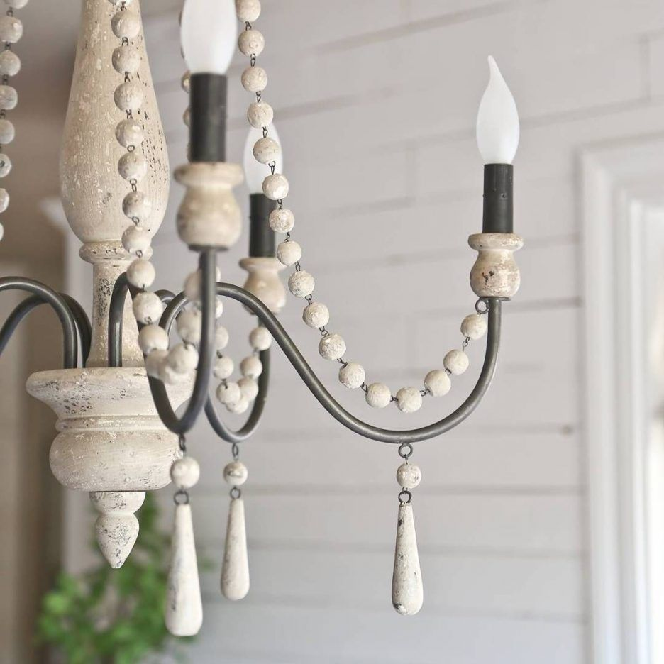 Ceiling Lights Distressed White Wood Orb Chandelier Large Iron