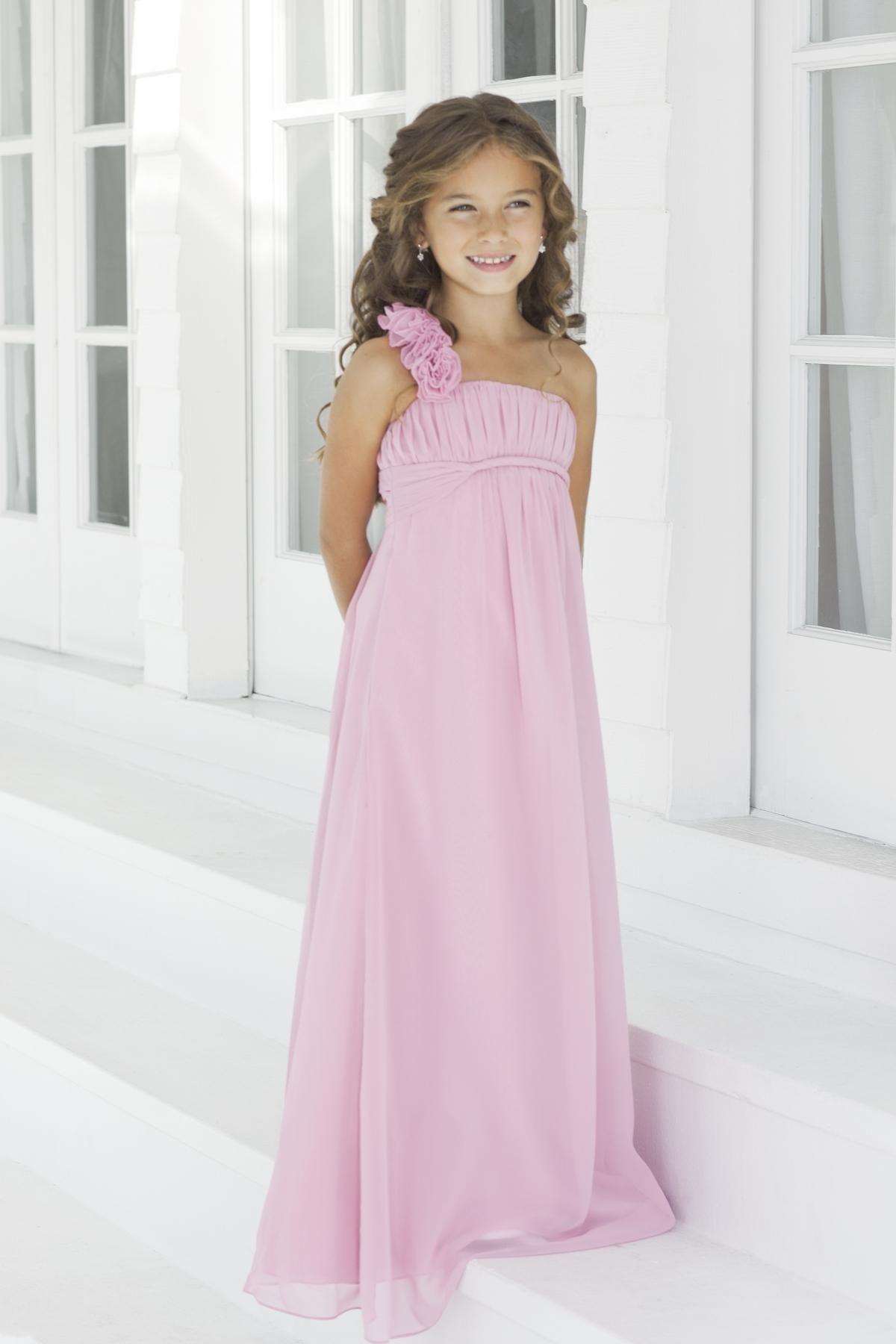 Empire Chiffon Flower One Shoulder Pink Little Girl Dresses.jpg ...