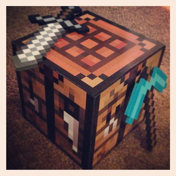 Diy minecraft crafting table decal set make your own crafting table cade 39 s minecraft room - Crafting table on minecraft ...