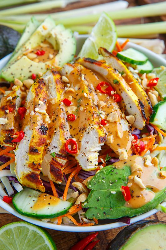 Thai Lemongrass Chicken And Avocado Salad With Spicy Peanut Dressing Recipe Salad Recipes For Dinner Soft Tacos Recipes Chicken Recipes