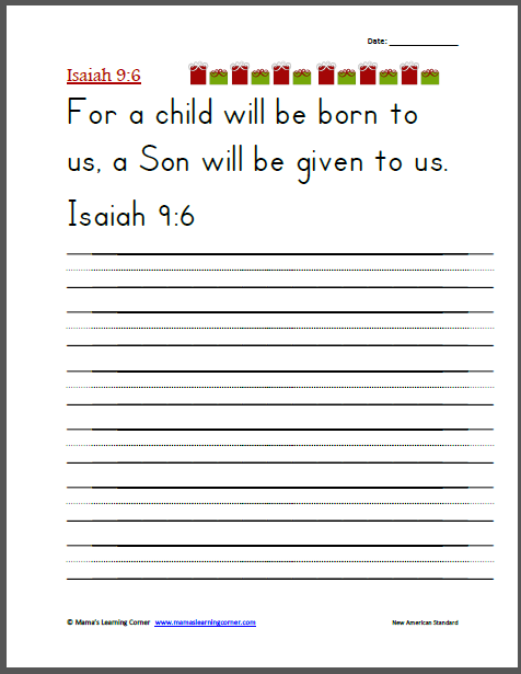 handwriting isaiah 9 6 christmas worksheets printables for kids christmas scripture. Black Bedroom Furniture Sets. Home Design Ideas