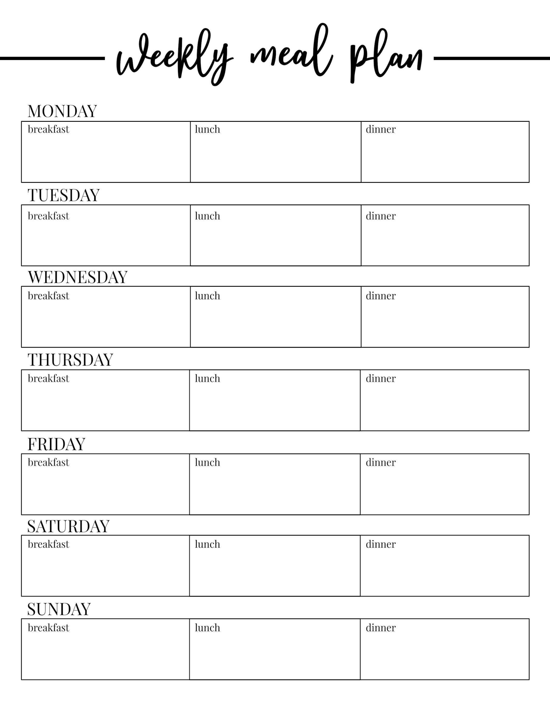 003 Daily Meal Plan Template Weekly Phenomenal Ideas