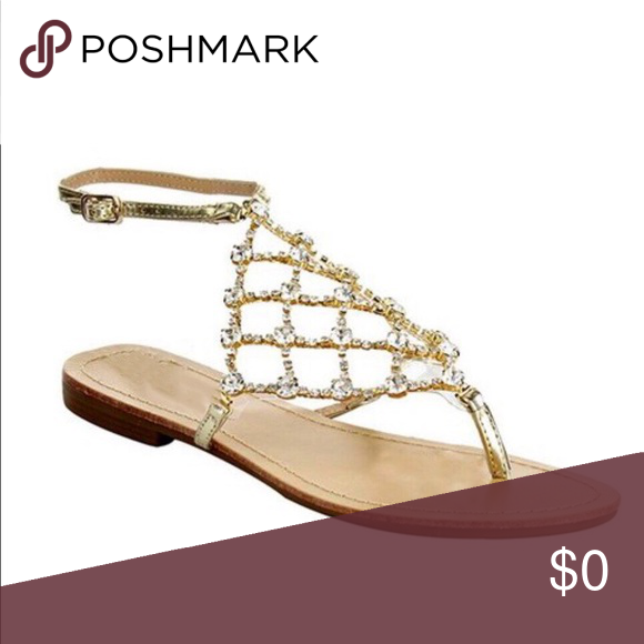 ‼️PRICE IS FIRM‼️Gold Bling rhinestone sandals