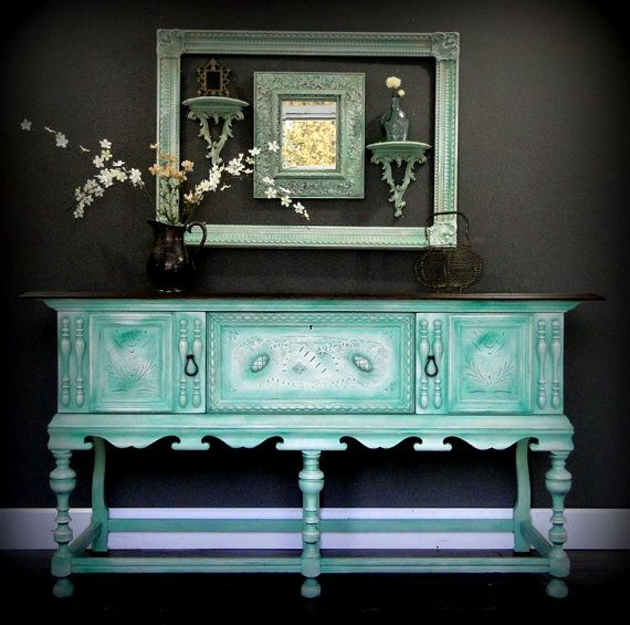 Antique Ornate Buffet, Sideboard, Entry Table Aqua Teal Turquoise Green  Cream, Dark Stained