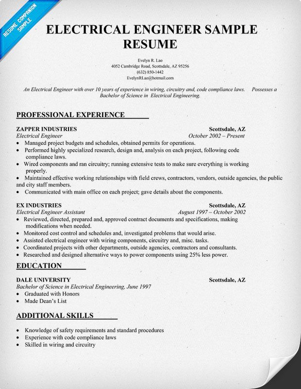 electrical engineer resume sample resumecompanioncom - Best Resume Samples For Experienced Engineers
